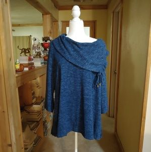 Ruby Rd. Cowl Neck. 3/4 Length Sleeve Sweater.